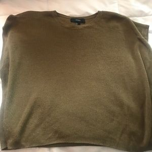 Short Sleeve Olive Green Sweater Top